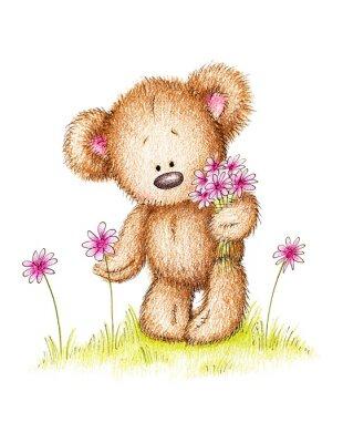 Dibujo Del Oso De Peluche Con Flores De Color Rosa Carteles Para La