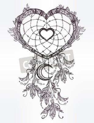 Dibujo dibujado a mano dibujo romántico de un colector, de plumas ...