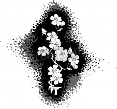 Dibujo En Blanco Y Negro De La Flor De Cerezo Carteles Para La Pared
