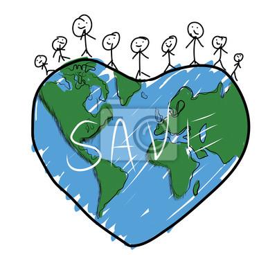 Póster Dibujo Familia Feliz En El Planeta Tierra
