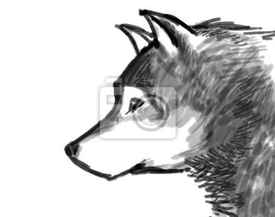 Dibujo Nieve Lobo Carteles Para La Pared Pósters Aullando Lobo
