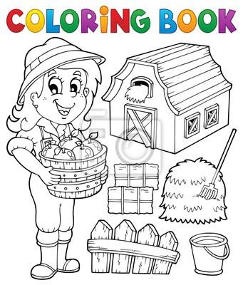 Dibujo para colorear chica y objetos de granja carteles para la ...