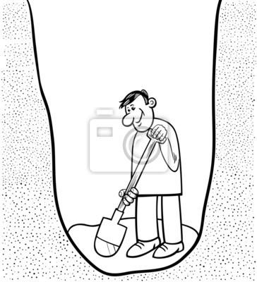 Dibujo para colorear de dibujos animados hombre cavando carteles ...