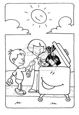 Dibujo Para Colorear De Un Niño Y Una Niña De Poner La Basura