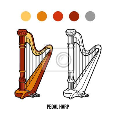 Póster Dibujo para colorear: instrumentos de música (arpa de pedal)