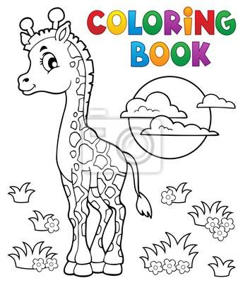 Póster Dibujo Para Colorear Jirafa Joven Tema 2