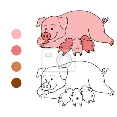 Dibujo para colorear (mamá y cochinillo de cerdo) carteles para la ...