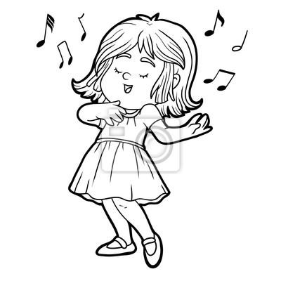 Dibujo para colorear: niña en un vestido rojo está cantando una ...
