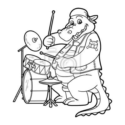 Dibujo para colorear para niños: cocodrilo y tambor carteles para la ...