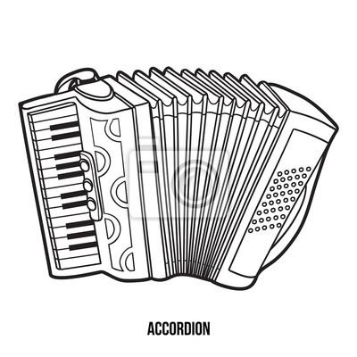 Dibujo para colorear para niños: instrumentos musicales (acordeón ...