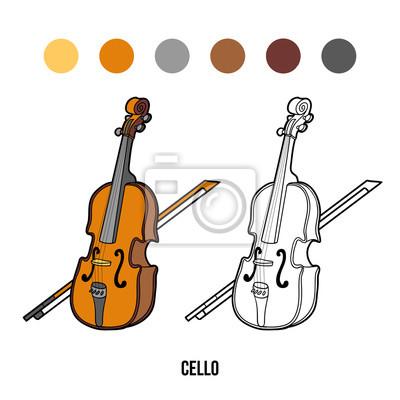 Dibujo para colorear para niños: instrumentos musicales (cello ...