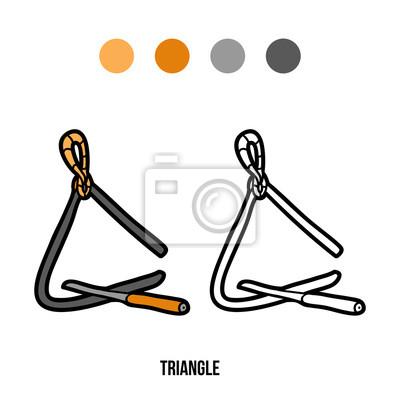 Dibujo para colorear para niños: instrumentos musicales (triángulo ...