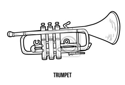 Póster Dibujo Para Colorear Para Niños Instrumentos Musicales Trompeta