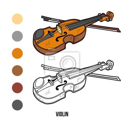 Dibujo para colorear para niños: instrumentos musicales (violín ...