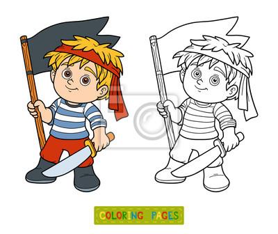 Póster Dibujo Para Colorear Para Niños Niño Pirata