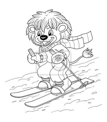 Dibujo para colorear para niños: pequeño león de esquí carteles para ...