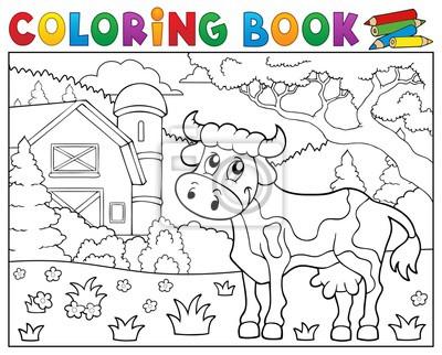 Dibujo para colorear vaca cerca de la granja tema 1 carteles para la ...