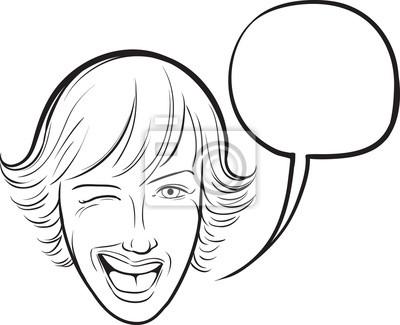 Dibujo pizarra - guiño de la mujer joven con la burbuja del discurso ...