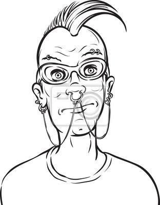 Dibujo pizarra - punk con cara piercings carteles para la pared ...