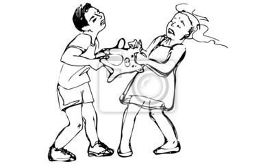 Dibujo Vectorial De Niño Y Niña Niños Están Peleando Por Un Juguete