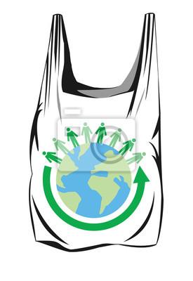 Dibujo Vectorial De Una Bolsa De Plástico Con Flechas Verdes