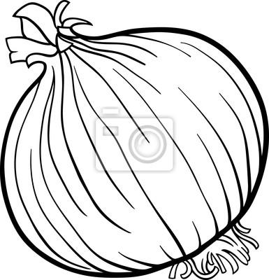 Póster Dibujos Animados De Verduras Cebolla Para Colorear Libro