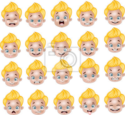 Dibujos Animados Diversas Expresiones De La Cara Del Niño