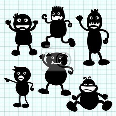 Dibujos animados escritura Kids silueta de la mano. Ilustración