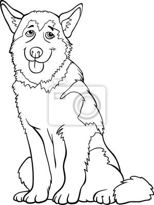 Dibujos animados husky o malamute perro para colorear carteles para ...