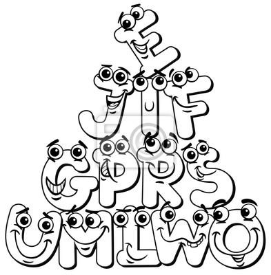 Póster Dibujos Animados Letra Caracteres Para Colorear