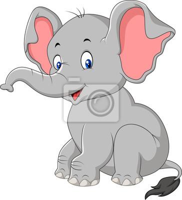 Dibujos Animados Lindo Elefante Bebe Sentado Carteles Para La Pared