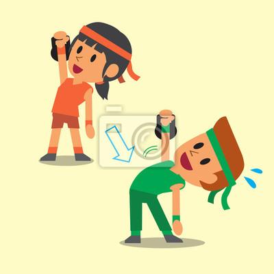 Dibujos Animados Un Hombre Y Una Mujer Haciendo Kettlebell Molino