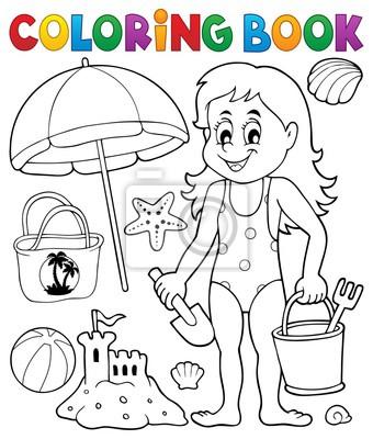 Dibujos Para Colorear Chica Y Objetos De Playa Carteles Para La