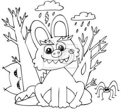 Dibujos para colorear de halloween bunny-monstruo carteles para la ...