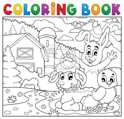 Dibujos para colorear felices animales cerca de la granja carteles ...