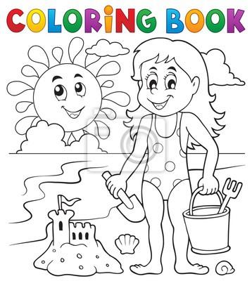 Dibujos para colorear niña jugando en la playa 1 carteles para la ...