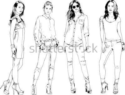 Póster dibujos vectoriales sobre el tema de la hermosa chica deportiva delgada en ropa casual en varias poses pintadas a mano boceto sin fondo