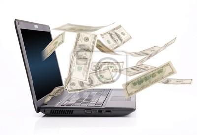 Dinero que cae desde la pantalla del ordenador portátil, Movimiento borroso