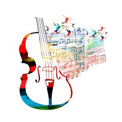 Póster Diseño colorido con el violoncello colibríes