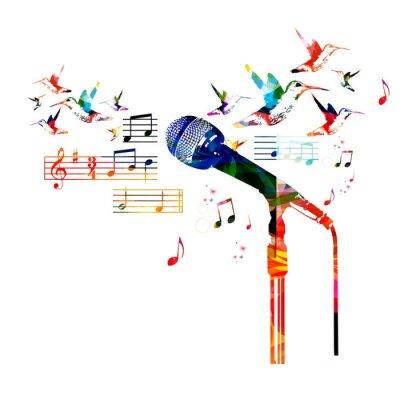 Póster Diseño colorido del micrófono