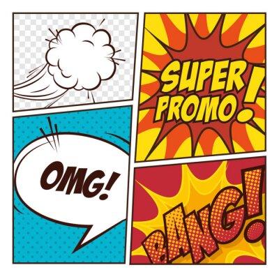 Póster Diseño cómico de las burbujas del arte pop