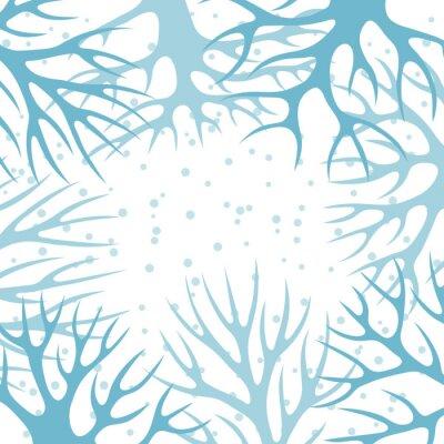 Póster Diseño de fondo de invierno con los árboles estilizados abstractos