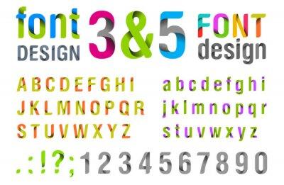 Póster Diseño de la fuente. Ribbon alfabeto. vectorial.