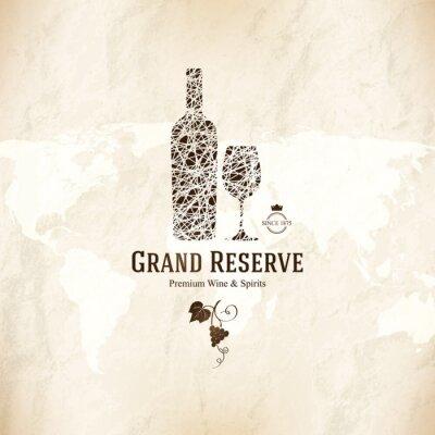 Póster Diseño de la lista de vinos