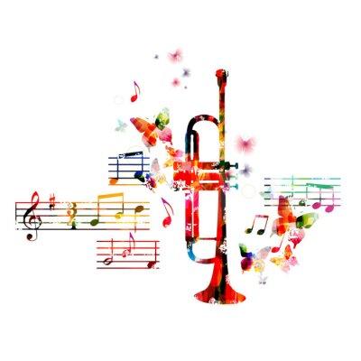Póster Diseño de la trompeta colorido con las mariposas