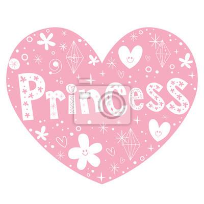 Diseño De Letras En Forma De Corazón Rosado De La Princesa Carteles