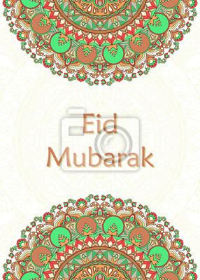 Póster Diseño de tarjeta de felicitación Eid Mubarak. Mubarak significa bendecido. Mandala con motivos florales, ondulados y geométricos. Saludo de fondo oriental. Ideal también como pancarta, fondo, invitac