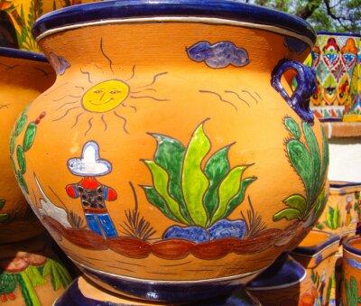 Póster Diseño de vista del desierto en cerámica mexicana