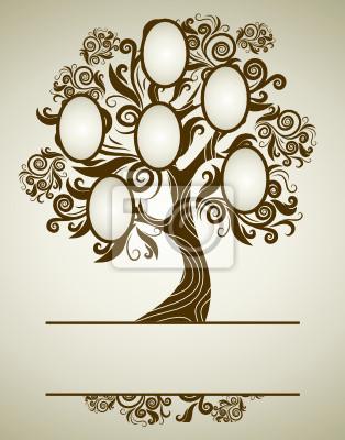 Diseño del árbol genealógico de vector con marcos y otoño veraniegos ...
