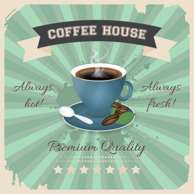 Póster Diseño del cartel de la cafetería con la taza de café en estilo retro.